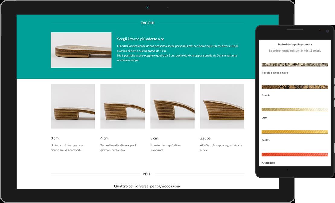 Web design responsive pagina personalizzazioni Sandali Siniscalchi