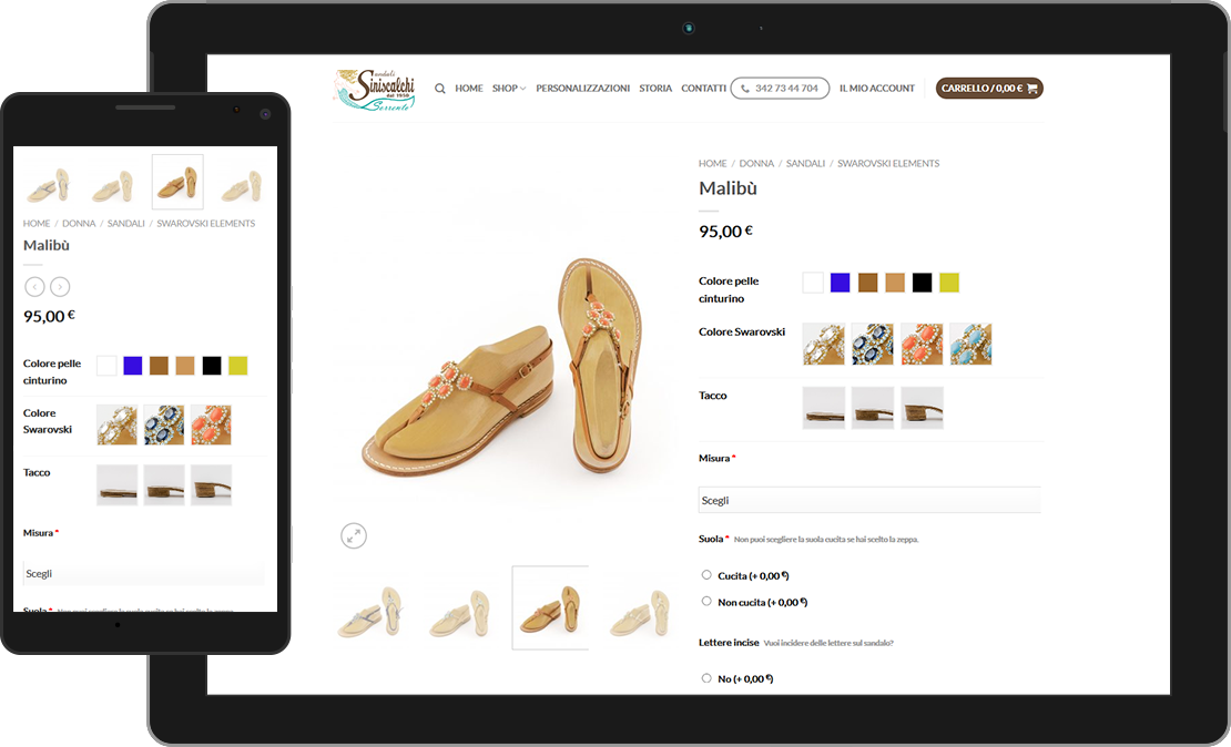 Web design responsive pagina sandalo Siniscalchi