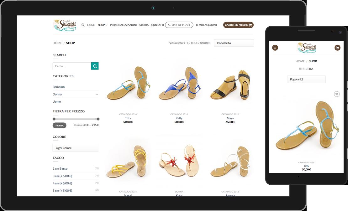Web design responsive e-commerce di Sandali Siniscalchi