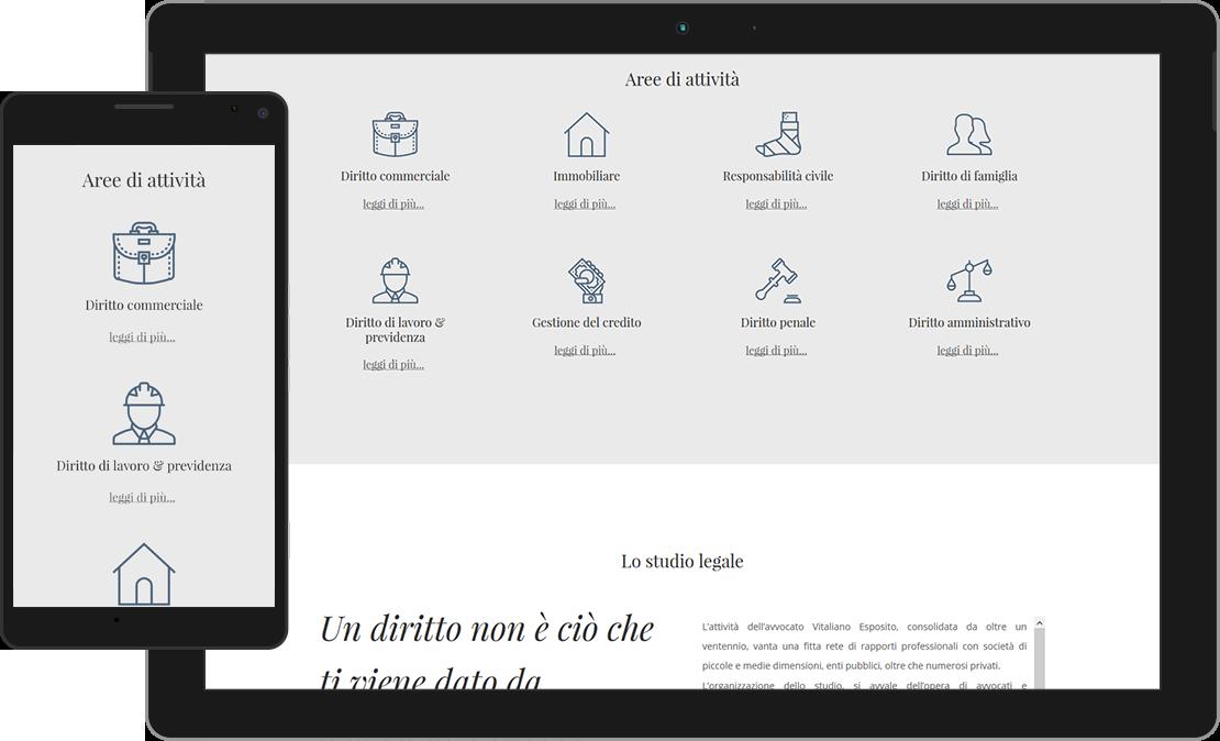 Web design responsive sezione Aree di attività Avv. Vitaliano Esposito
