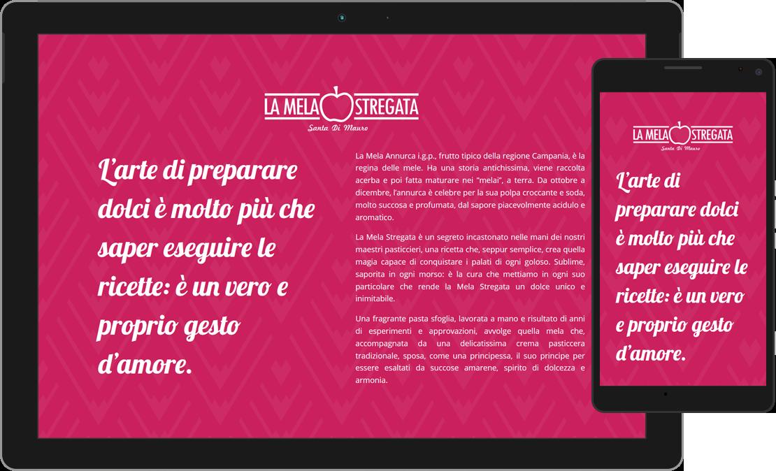 Web design responsive home de La Mela Stregata