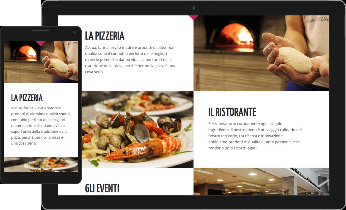 Web design responsive sezione Ristorante e Pizzeria de La Mela Stregata