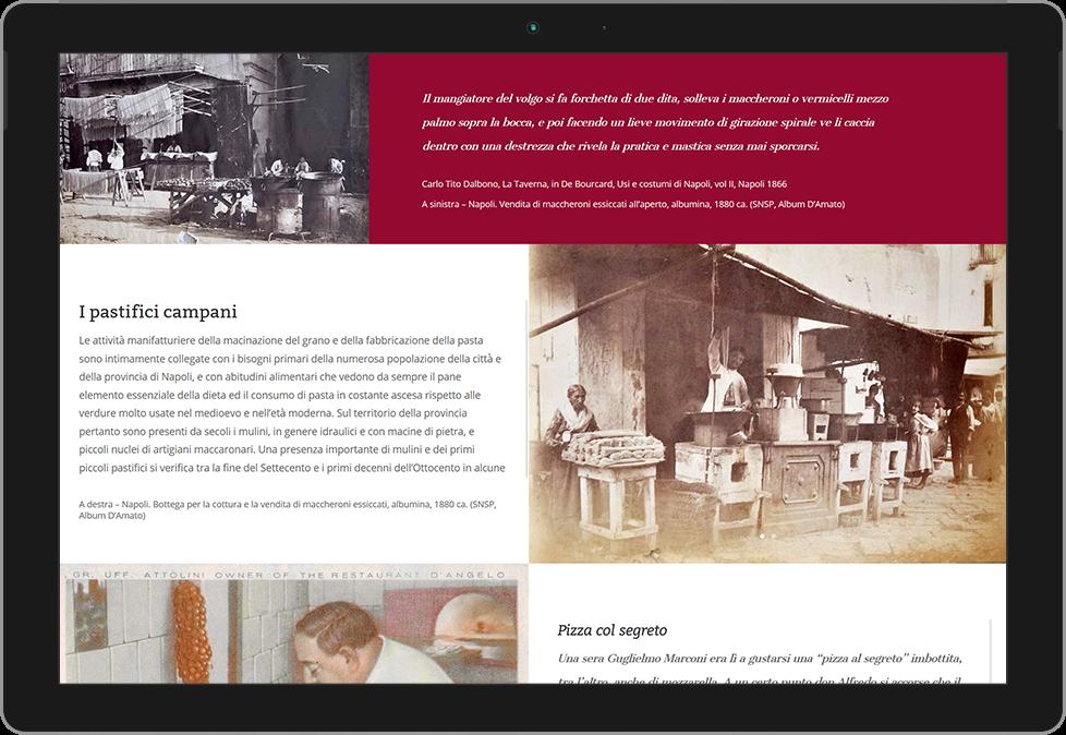 Home della mostra interattiva sul cibo in Campania