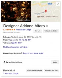 Screenshot della scheda aziendale Google