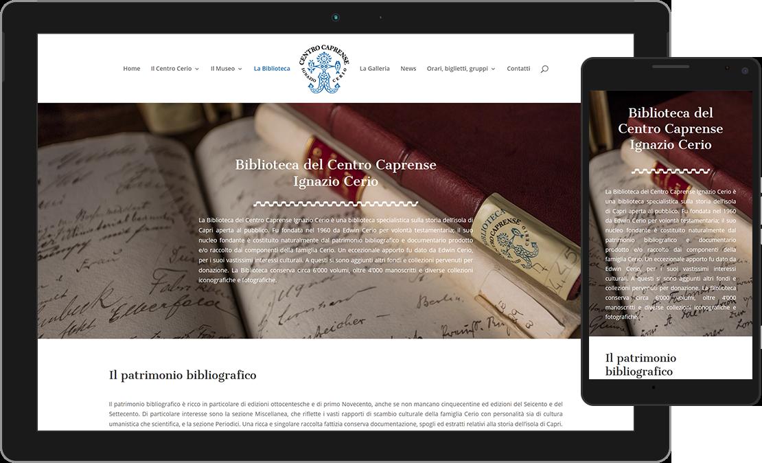 Web design responsive sezione Biblioteca del Centro Caprense Ignazio Cerio