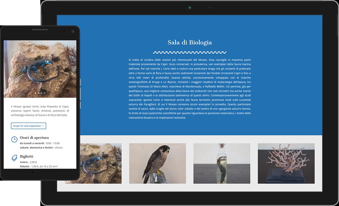 Web design sito Centro Caprense Ignazio Cerio, Sala di Biologia