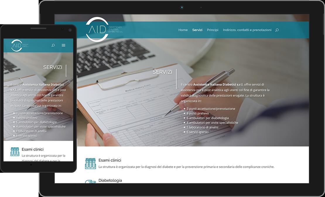 Pagina dei servizi con icone moderne per il sito web dell'Assistenza Italiana Diabetici