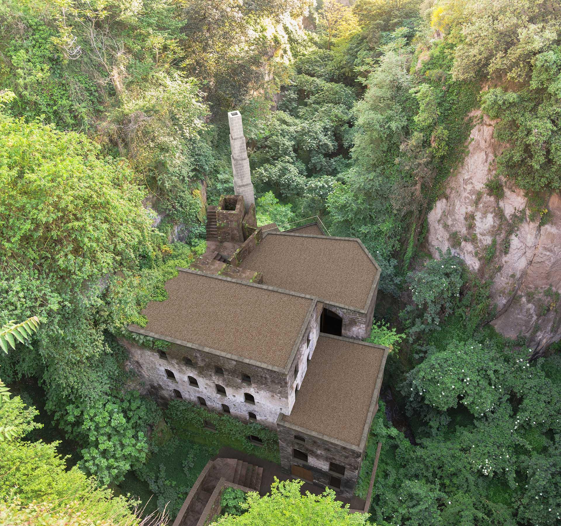 Render del Vallone dei Mulini di Sorrento visto verso il parco Ibsen